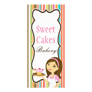 "4""x9"" Price List Bakery Brunette Baker Cup Cakes Customized Rack Card"