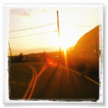 """4"""" x 4"""" Instagram Print: Sunset On a Road Photo Print"""