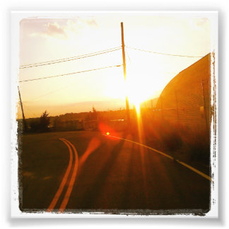 "4"" x 4"" Instagram Print: Sunset On a Road Photo Print"