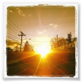 "4"" x 4"" Instagram Print: Sunset On a Road Photograph"