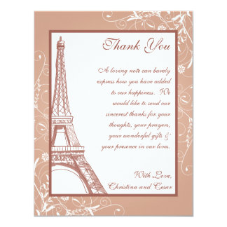 4 x 5 FLAT Thank You Card Floral Spiral in Paris