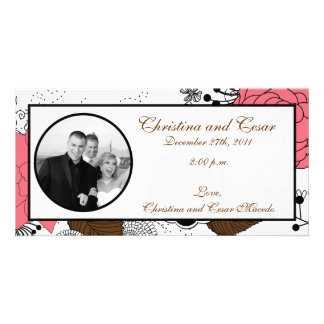4 x 8 Engagement Photo Announcement Pink Flowers