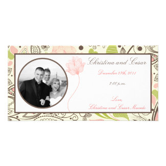 4 x 8 Engagement Photo Announcement Spring Pink/Gr