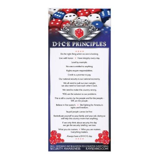 "4""x 9"" DICE Principles Bookmark Invitations"