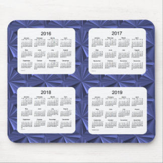 4 Year 2016-2019 Calendar Blue Diamonds Mousepad