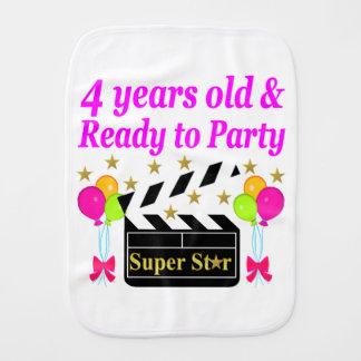 4 YEAR BIRTHDAY SUPER STAR DESIGN BURP CLOTH