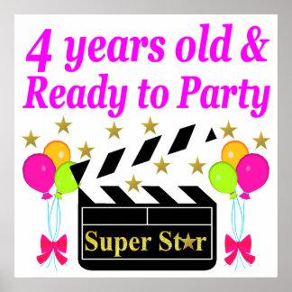4 YEAR BIRTHDAY SUPER STAR DESIGN POSTER
