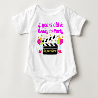 4 YEAR BIRTHDAY SUPER STAR DESIGN T-SHIRT