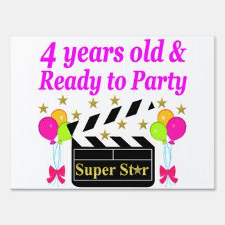 4 YEAR BIRTHDAY SUPER STAR DESIGN YARD SIGN