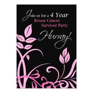 4 Year Breast Cancer Survivor Party Invitation