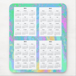 4 Year calendar on Colorful Pastel Design Backgrd. Mouse Pad