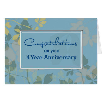 4 Year Employee Anniversary, Blue, Leaves Greeting Card