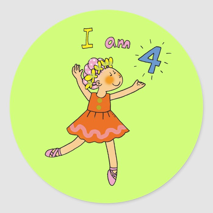 4 year old ballerina classic round sticker