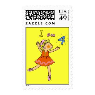4 year old ballerina postage stamp