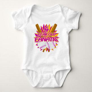 4 Year Old Baseball Fanatic Baby Bodysuit