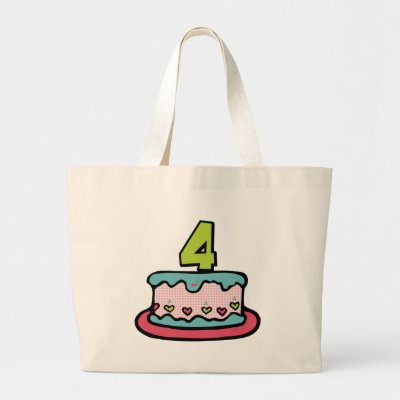 4 Year Old Birthday Cake Tote Bags by Birthday_Bash