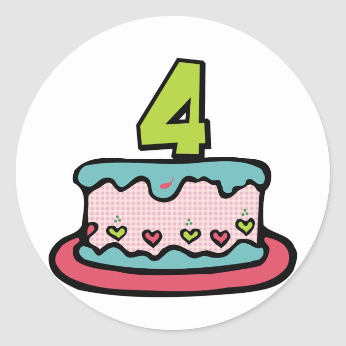 Sensational 4 Year Old Birthday Cake Classic Round Sticker Zazzle Com Personalised Birthday Cards Veneteletsinfo
