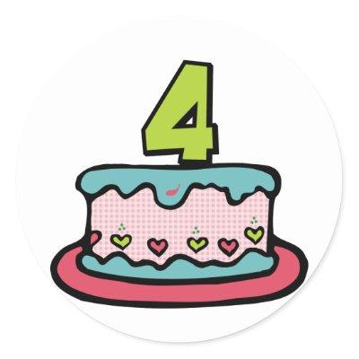 4 Year Old Birthday Cake Stickers by Birthday_Bash