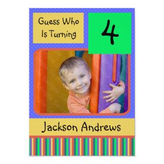 4 Year Old Birthday Party Invitations BOY