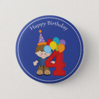 4 year old boys Happy Birthday Button