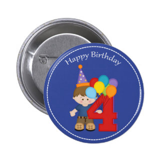 4 year old boys Happy Birthday Button