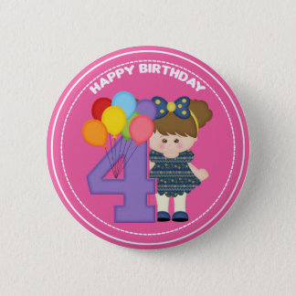 4 year old girl Birthday Button