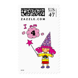 4 year old magician girl postage