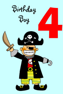 4 Year Old Pirate Boy Card