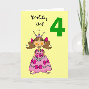 4 Year Old Princess Brown Hair Card