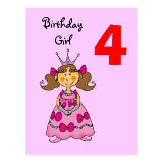 4 year old princess (brown hair) postcard