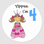 4 year old princess (brown hair) classic round sticker