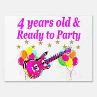 4 YEAR OLD ROCK STAR BIRTHDAY PARTY LAWN SIGN