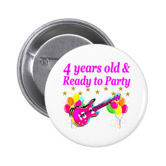 4 YEAR OLD ROCK STAR BIRTHDAY PARTY PINBACK BUTTON