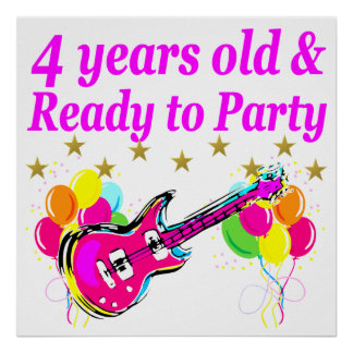 4 YEAR OLD ROCK STAR BIRTHDAY PARTY POSTER