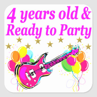 4 YEAR OLD ROCK STAR BIRTHDAY PARTY SQUARE STICKER