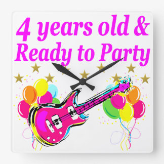 4 YEAR OLD ROCK STAR BIRTHDAY PARTY SQUARE WALL CLOCK