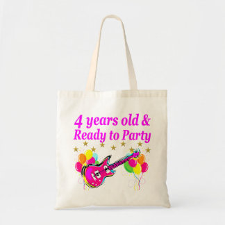4 YEAR OLD ROCK STAR BIRTHDAY PARTY TOTE BAG