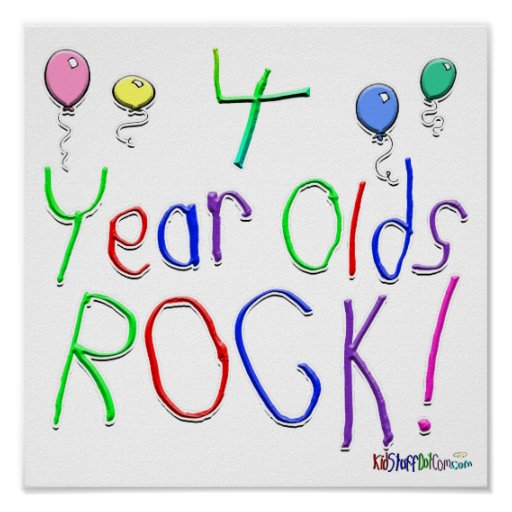 4 Year Olds Rock ! Poster