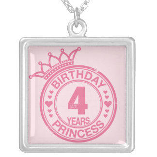 4 years - Birthday Princess - pink Silver Plated Necklace