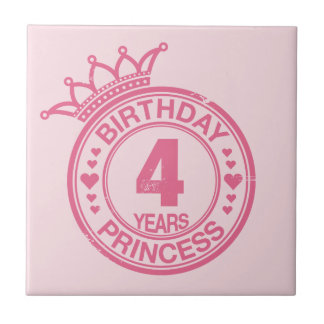4 years - Birthday Princess - pink Small Square Tile