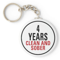 4 Years Clean and Sober Keychain