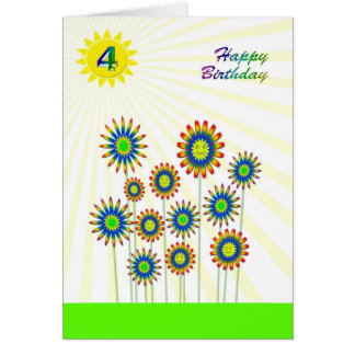 4 years old, a happy flowers card