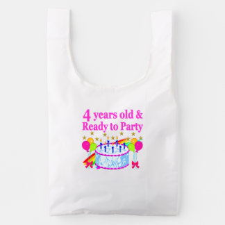 4 YEARS OLD AND READY TO PARTY BIRTHDAY GIRL REUSABLE BAG