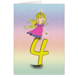 4 Years Princess Birthday Card