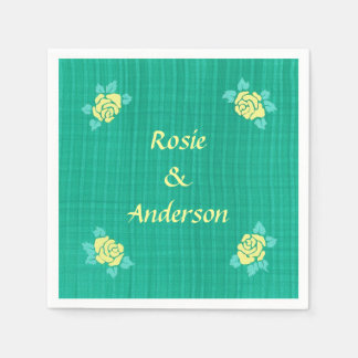 4 Yellow Roses on Green Teal Plaid Napkins