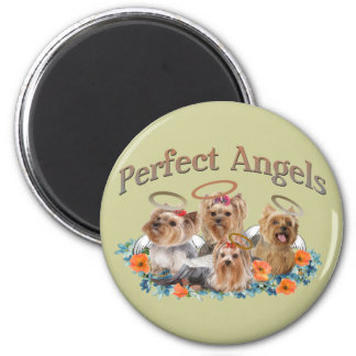 4 Yorkie Perfect Angels gifts 2 Inch Round Magnet