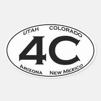 4C - Four Corners USA Oval Logo Oval Sticker