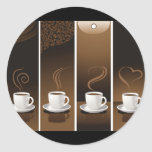 4CupsCoffee Round Sticker
