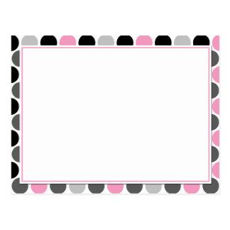 #4Modern Pink Gray Black Circles Recipe Cards