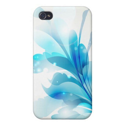 4s floral azul radiante iPhone 4 protector
